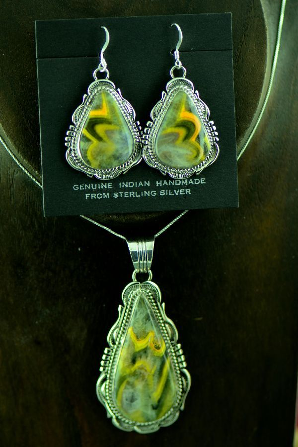 c574f935b Navajo Sterling Silver Bumble Bee Jasper Pendant and Earrings by Will  Denetdale