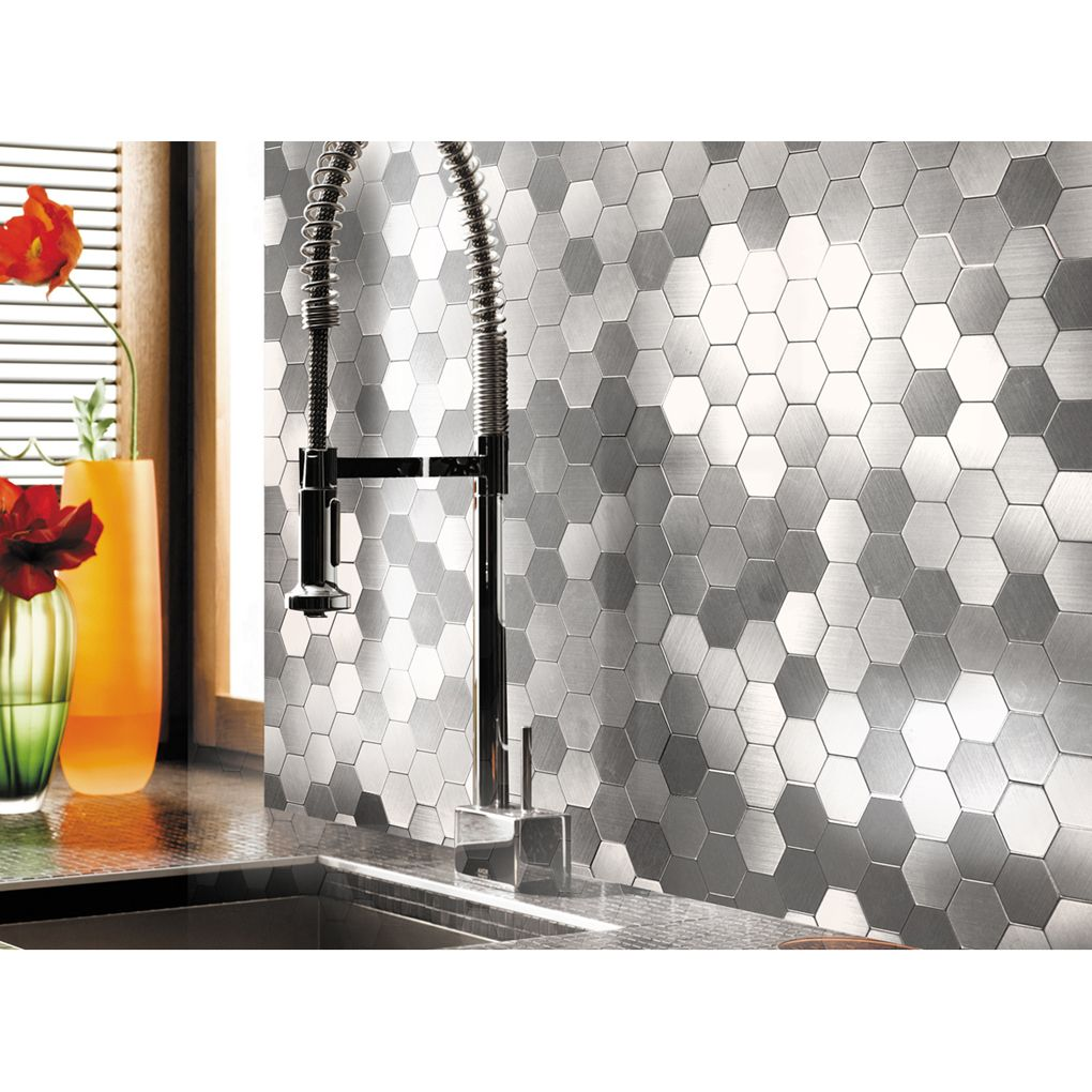 - A16081 - Self-adhesive Metal Tiles 10 Pcs Hexagon Peel N Stick Backsplashes  Tiles 12x12In Metal Mosaic Tiles, Metallic Backsplash, Backsplash