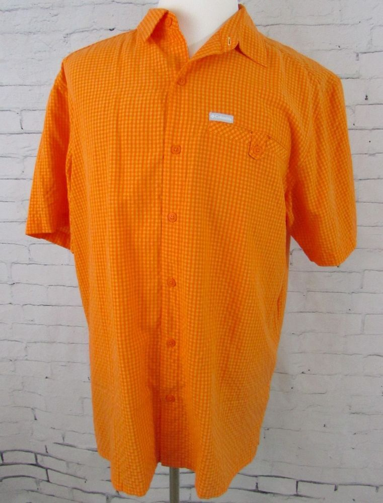 69db3014d2b Mens Columbia Omni Shade Fishing Shirt Orange Checkered Size Large #Columbia  #ButtonFront