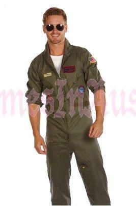 c1814de4984c Top Gun Mens Aviator Costume Pilot Flight 80 s Film Suit Pete Mitchell  Maverick