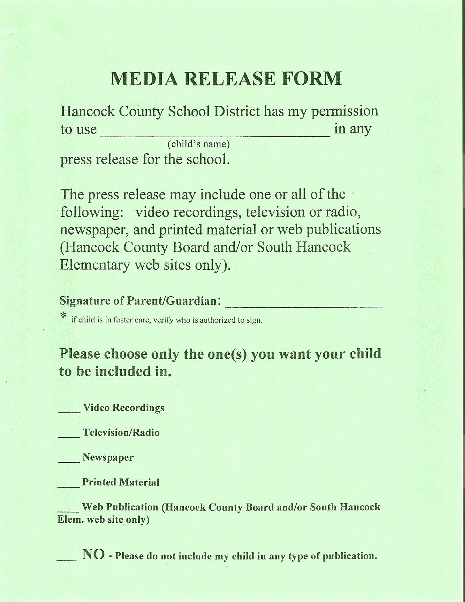 school media release form lovely hancock county schools in resume summary for student examples infographic template word free download civil engineer experience