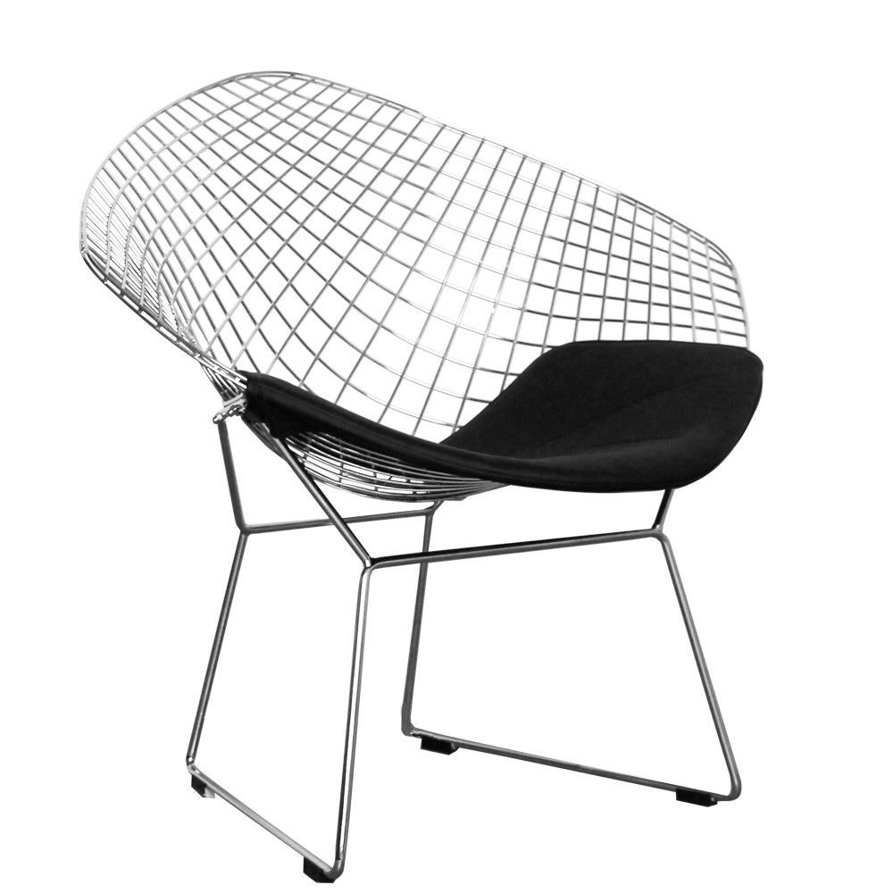 Chaise Diamond Bertoia Harry Bertoia Style Diamond Wire Chair In Chrome Black Or White