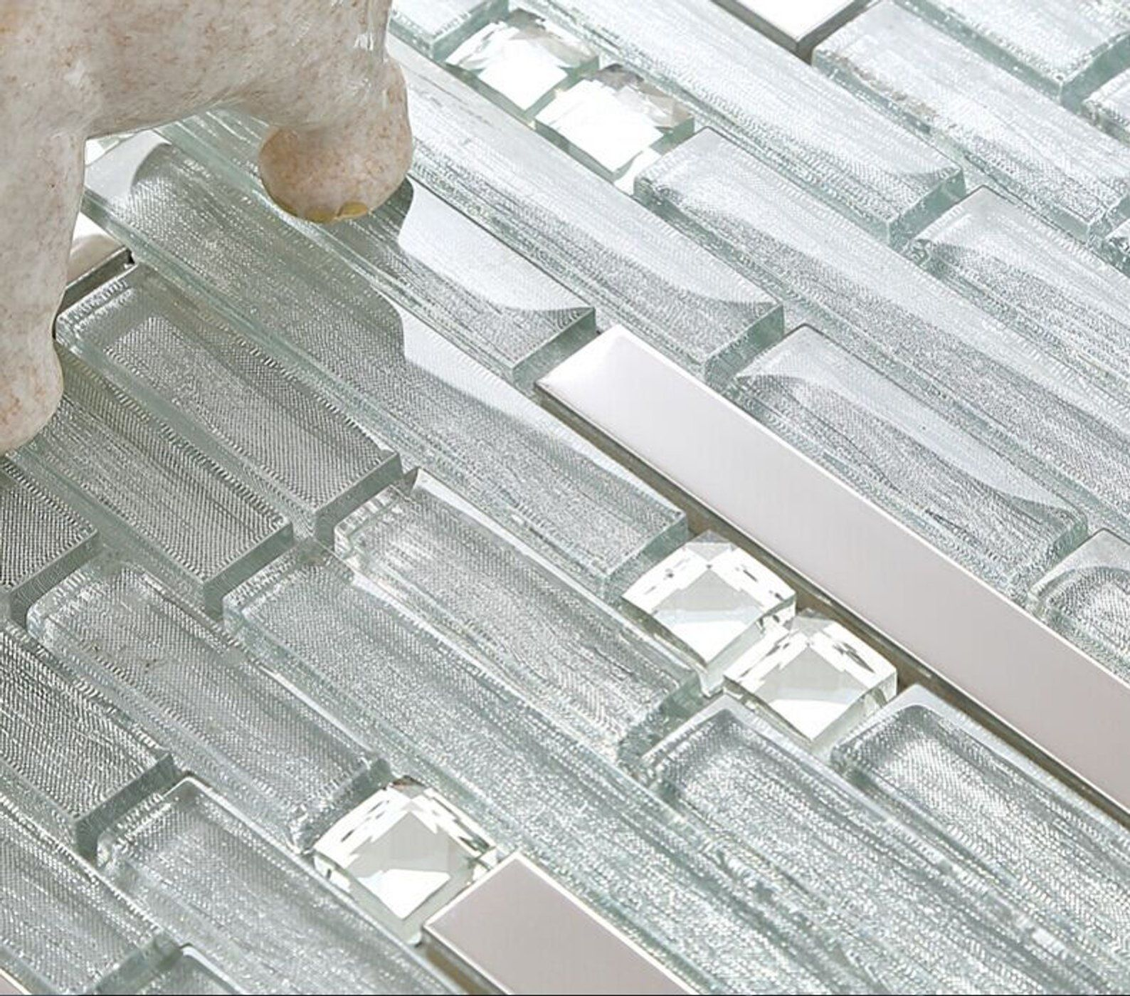 - Silver Stainless Steel And Glass Backsplash Tile With Rhinestones