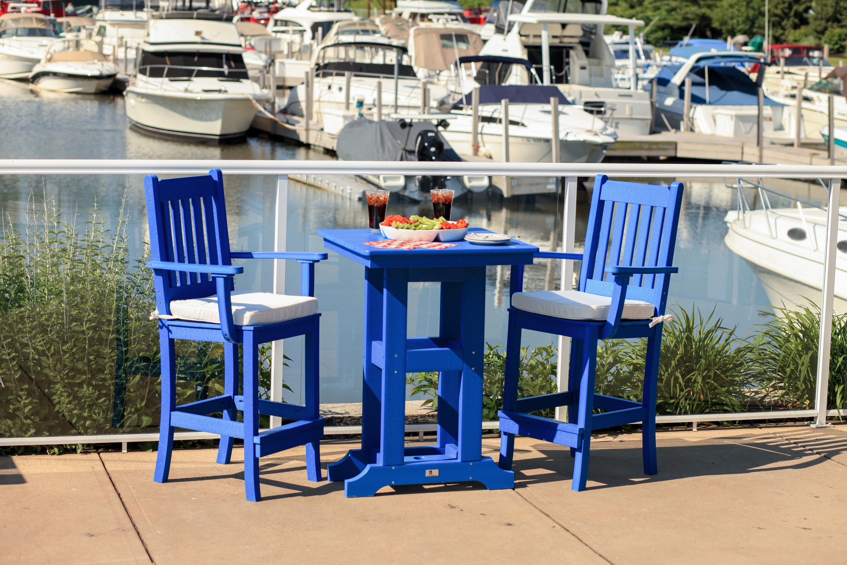 Incroyable Furniture Ideas, Counter Height Patio Furniture With Blue Paito Chairs And  Blue Small Patio Table