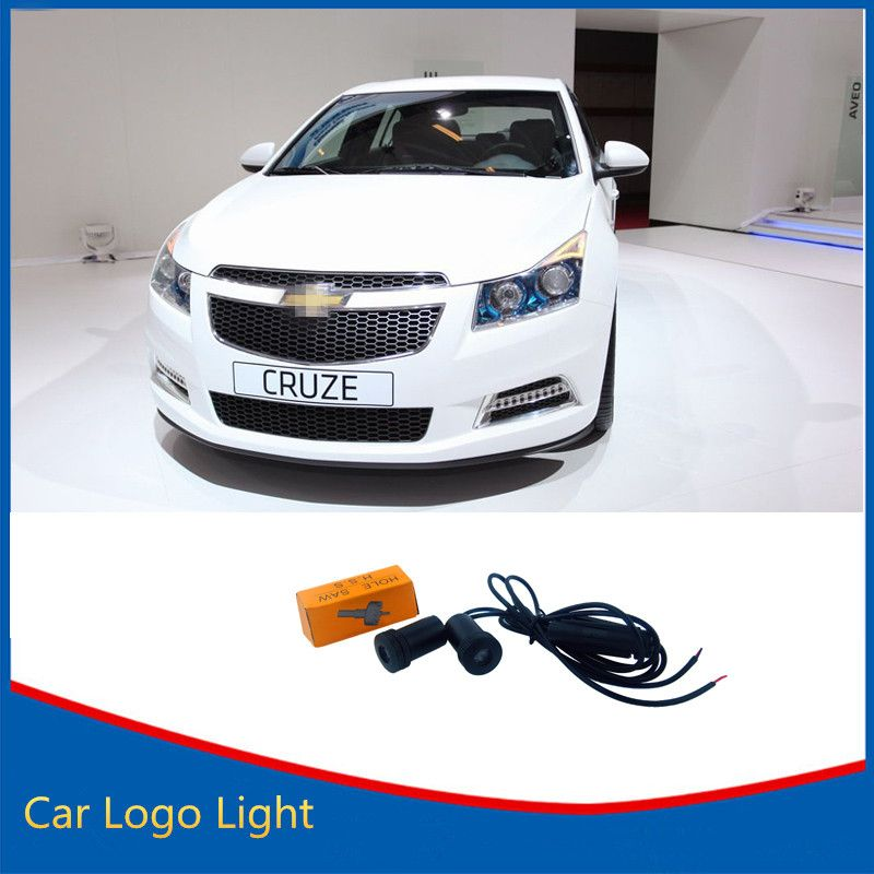 2x Ghost Shadow 3d Led Welcome Light For Chevrolet 7w Car Logo