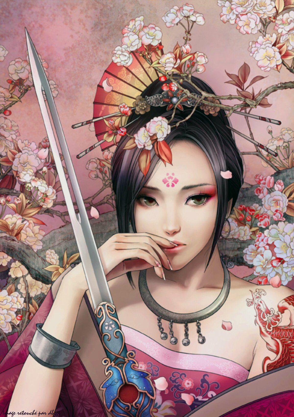 Fonds d'écran Art - Numérique Femmes - Féminité   amit kérek 4   Femme samouraï, L'art du ...