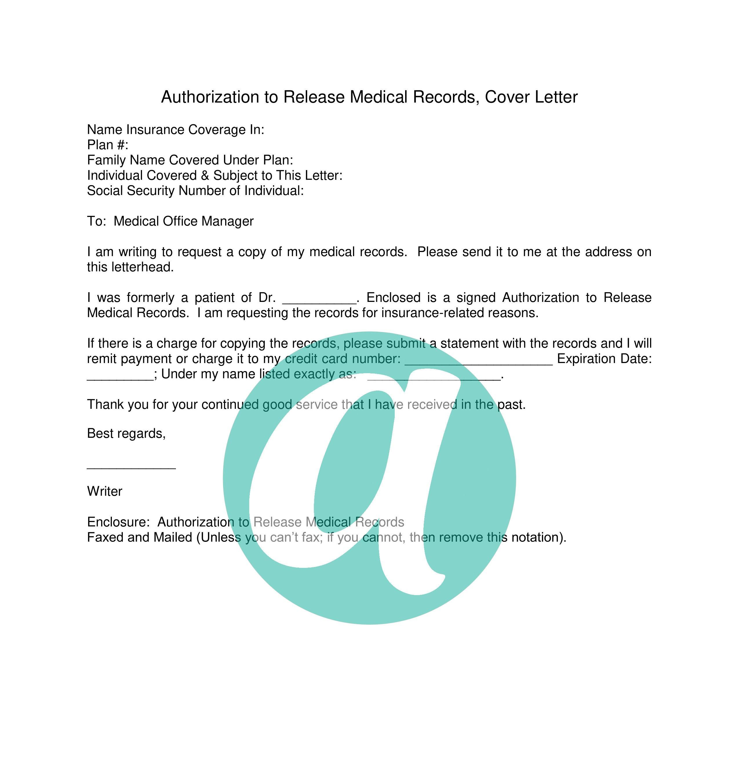 Release Medical Records Cover Letter Anyhows Letterhead