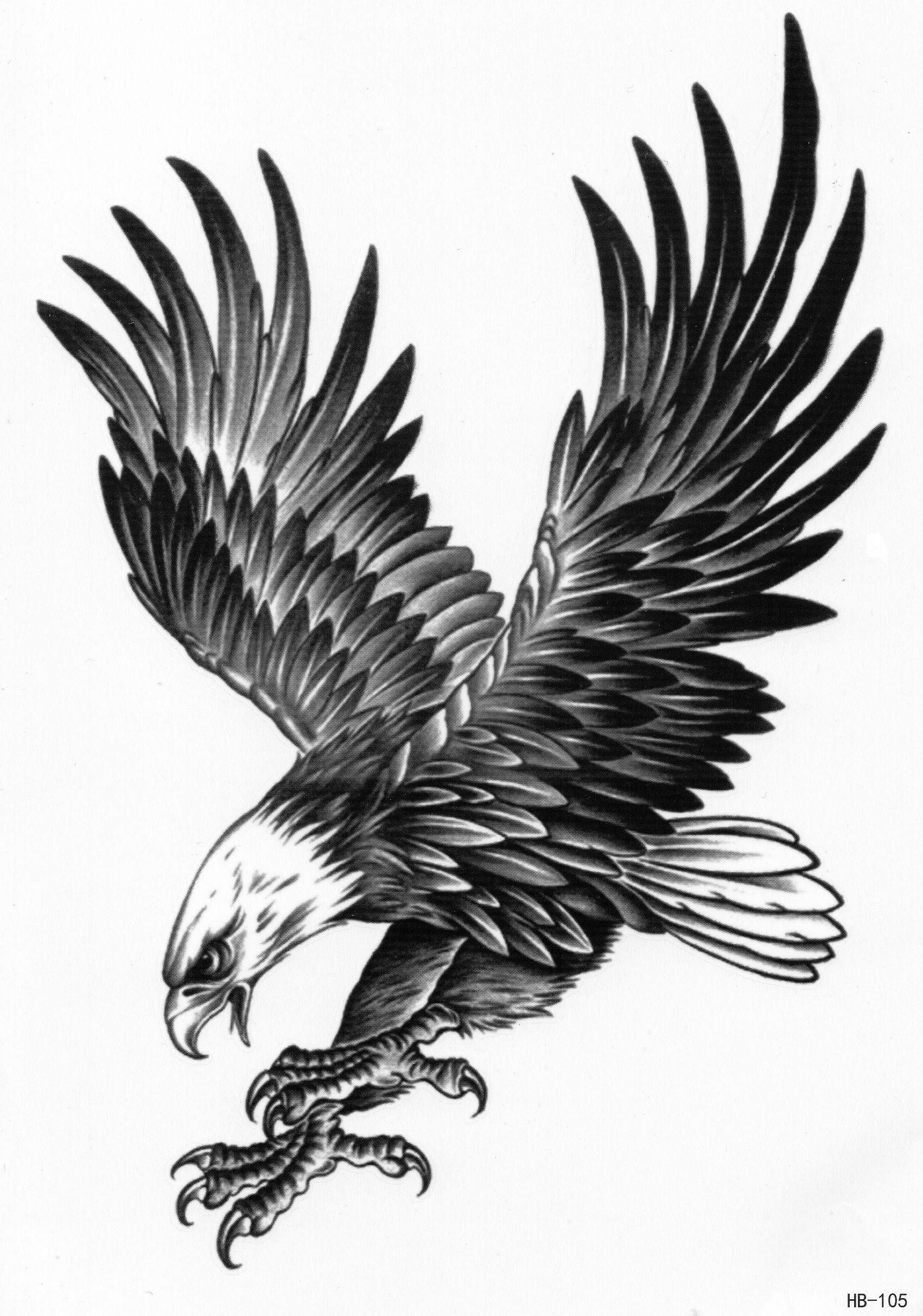 Eagle Bird Birds Animal Proud Temporary Tattoo Fake Tattoo 5,9×8,2 inch HB105
