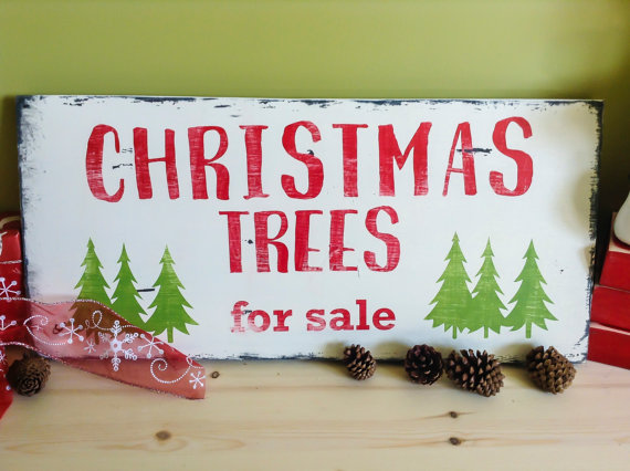 Christmas Rustic Decor, Christmas Trees For Sale sign, Rustic ...