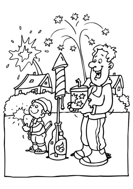 Kleurplaten Van Kerstmis Nieuwjaar.Kleurplaat Vuurwerk Nieuwjaar Vuurwerk Knutselen