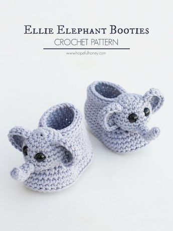 Ellie The Elephant Baby Booties Crochet Pattern | baby shoes | Pinterest