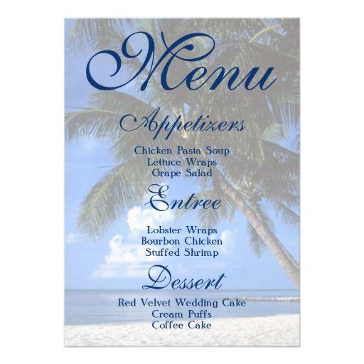 Palm Tree Beach Tropical Wedding Menu Personalized