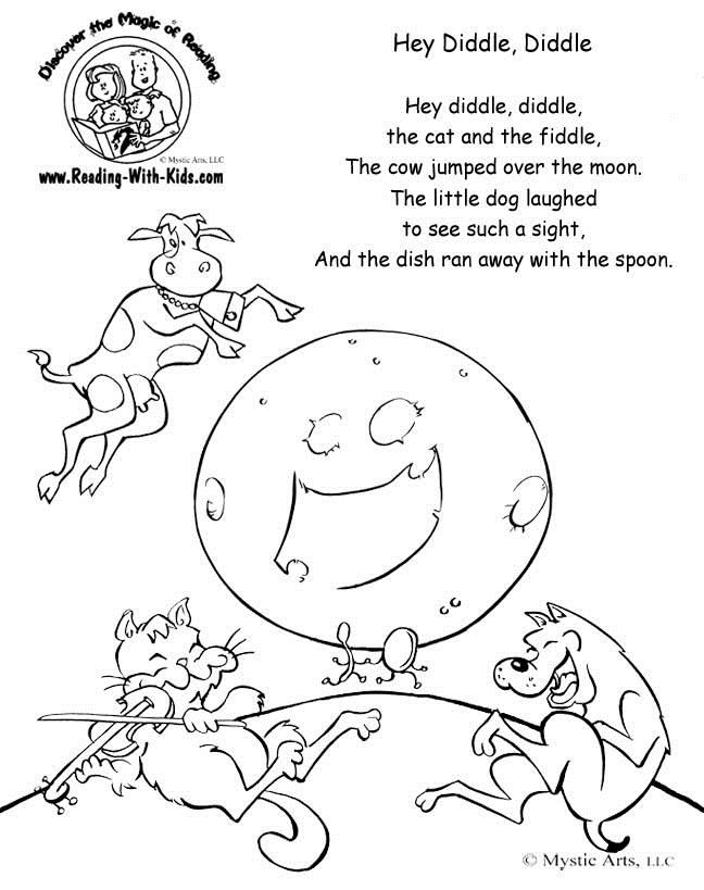 Cow Jumped Over The Moon Color Page Nursery Rhymes Nursery