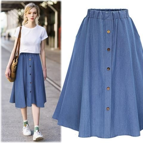 f95e6102a67 2017 summer women cute elastic waist denim jeans skirt ladies large plus  size casual midi skirt female flare pleated buttons