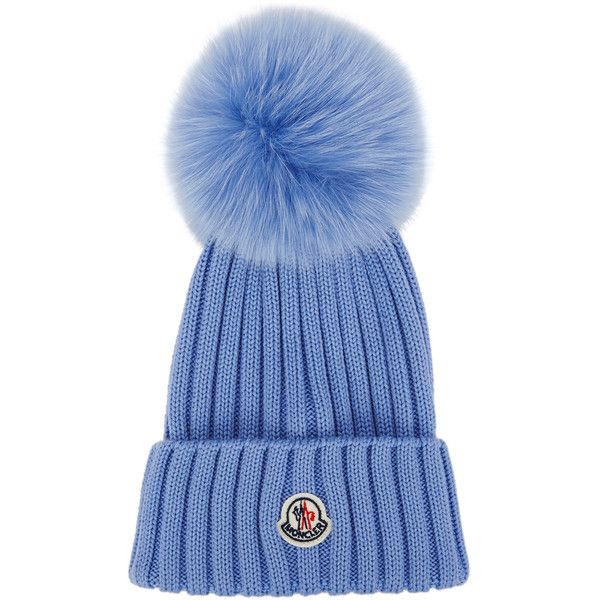 Moncler Taupe Fur Pompom Wool Beanie ($305) ❤ liked on