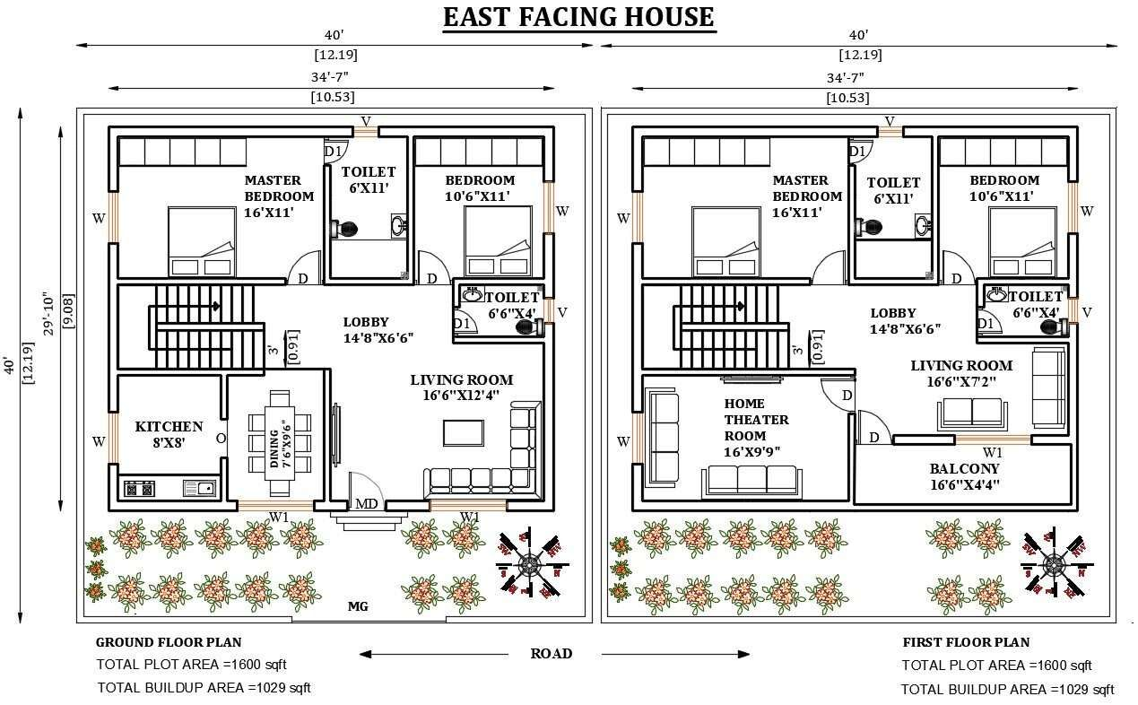 40 X40 East facing 2bhk house plan as per Vastu Shastra Download Autocad DWG and PDF file