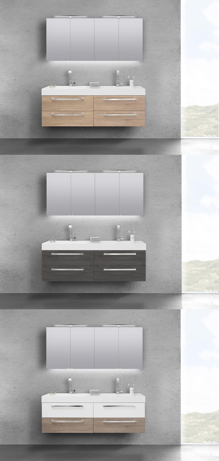 Designbaeder Com Unterschrank Spiegelschrank Doppelwaschbecken