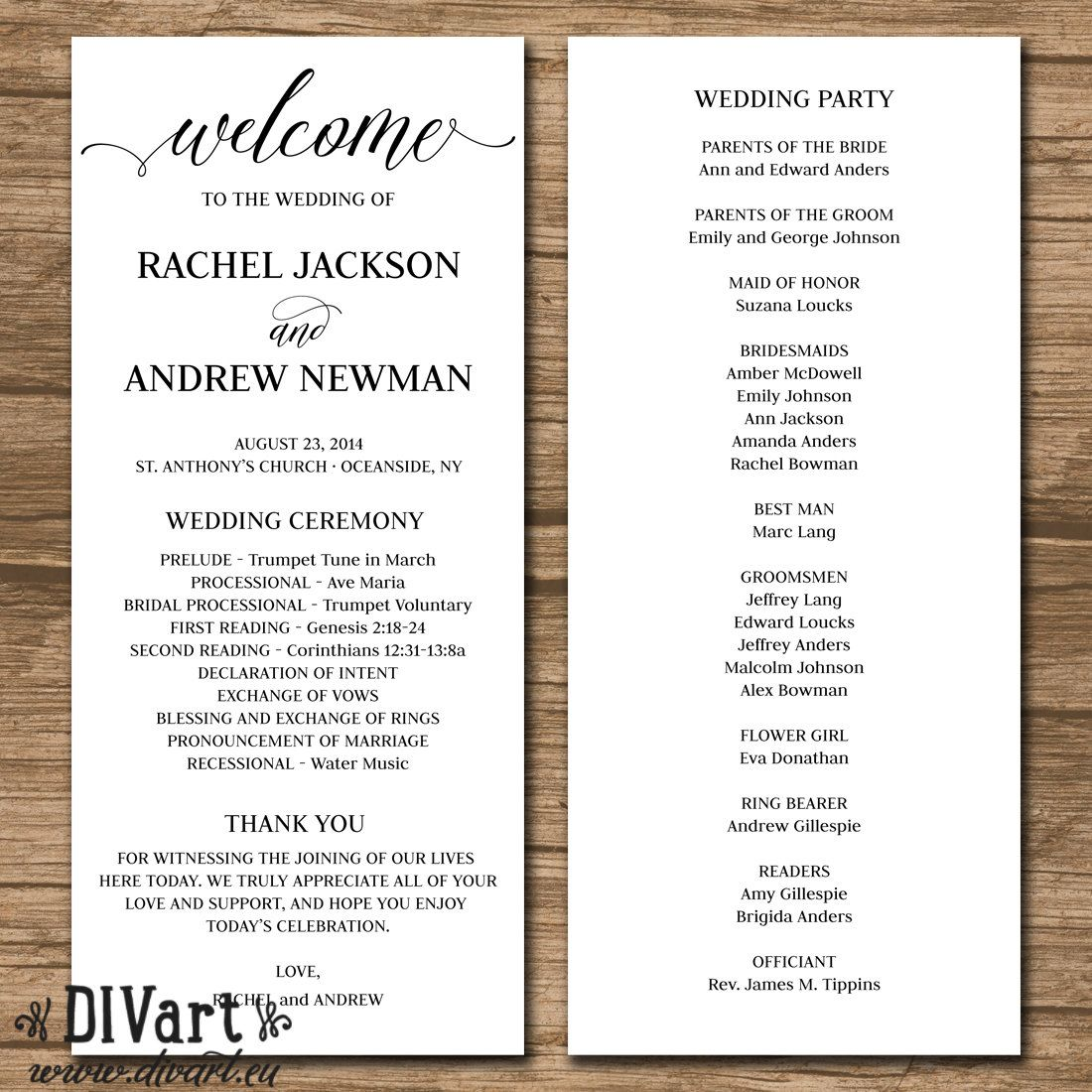 Rustic wedding program wedding ceremony order of events for Wedding processional order template