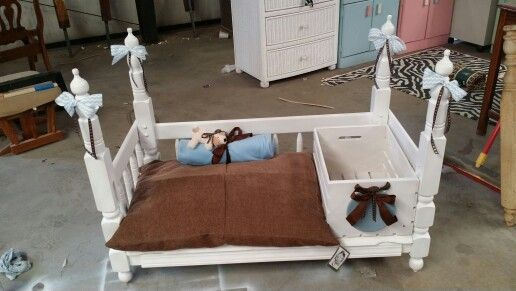 Dog Bed That I Made From Twin Headboards Added A Crate For Food Toy Storage Dog Bed Pet Furniture Twin Headboard