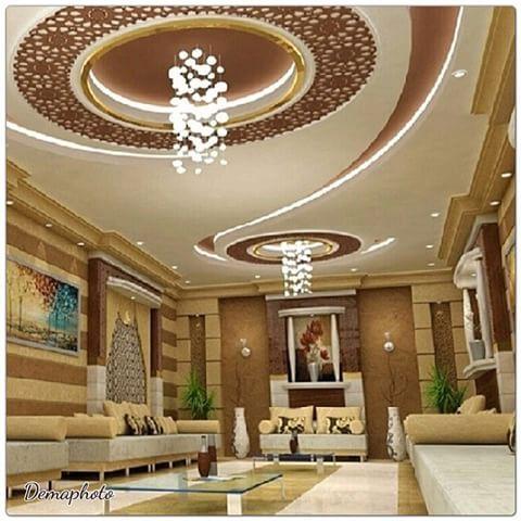 ديكور سقف خشبي وجبس جميل وفخم للمجالس Decor غرفة جلوس
