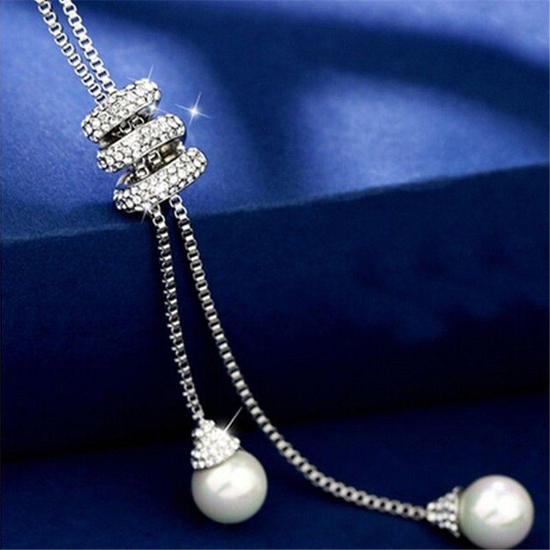 Elegant Women Fashion Jewelry Pearl Pendant Necklace Long Tassel Silver Chain - https://barskydiamonds.com/necklaces/