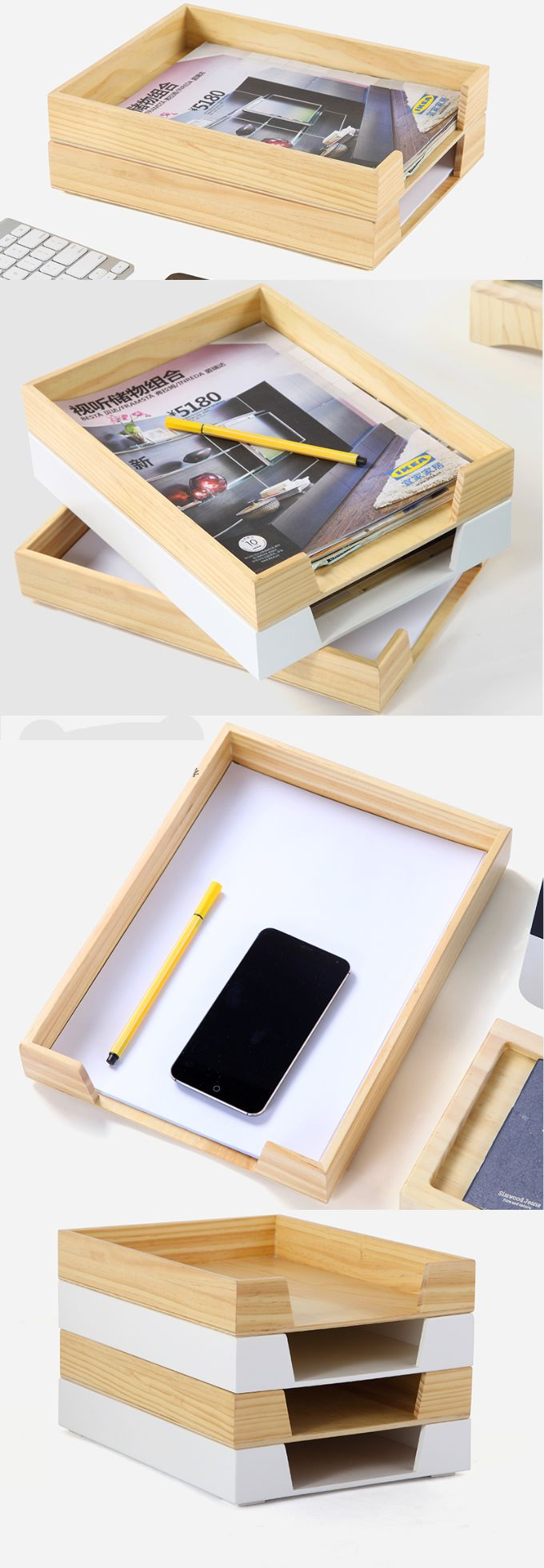 Bamboo Wooden A4 Print Papers Magazine File