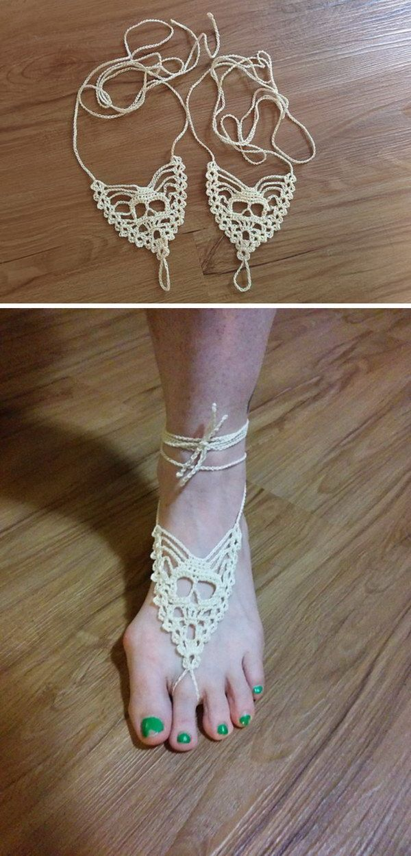 Free Crochet Skull Barefoot Sandals Pattern