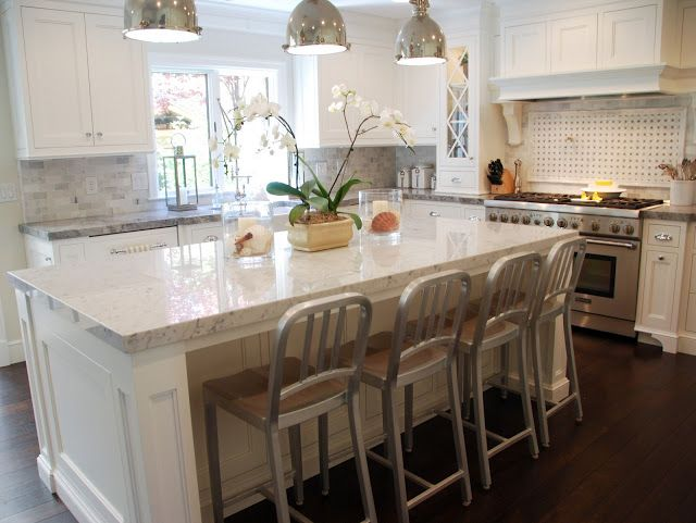 The Perimeter Countertops Are Super White Quartzite With A Mitered