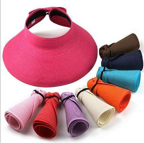fb40c9e754b Fashion Roll Up Wide Brim Straw Bow Hat Foldable Adjustable Sun Visor  Floppy Cap
