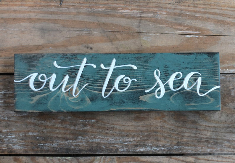Photo of Out to Sea Sign, Beach Wall Decor, Nautical Decor, Rustic Beach Sign