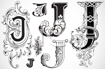 Royalty Free Clipart Image Of A Collection Of Letter J Letter J Lettering Alphabet Fancy Letters