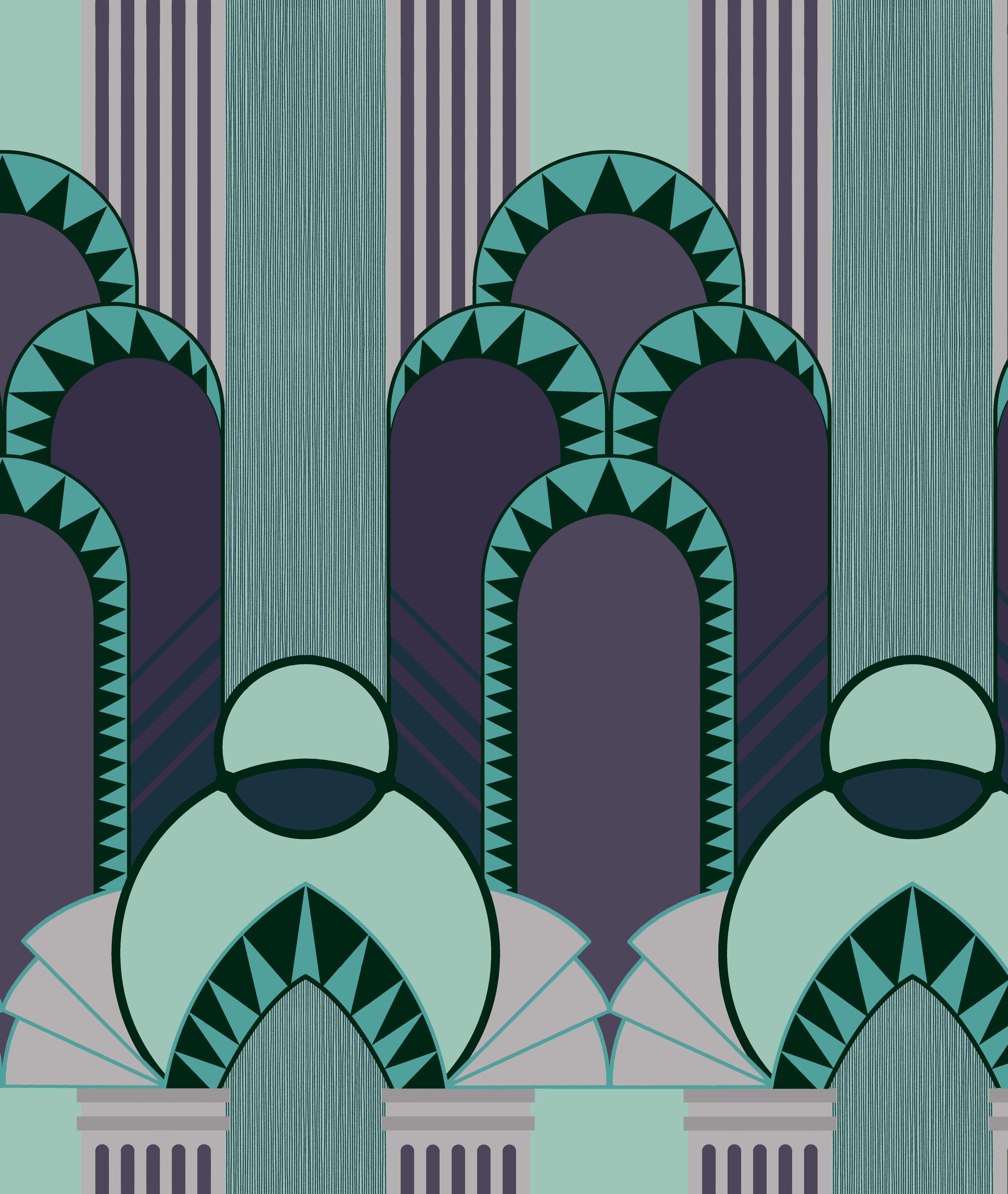 Dreamland 12103 Art Deco Illustration Digital Borders Design Art Deco Patterns