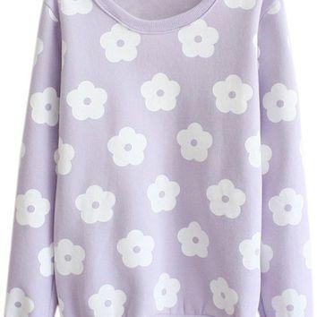 Purple Floral Print Long Sleeve Hoodie Sweater