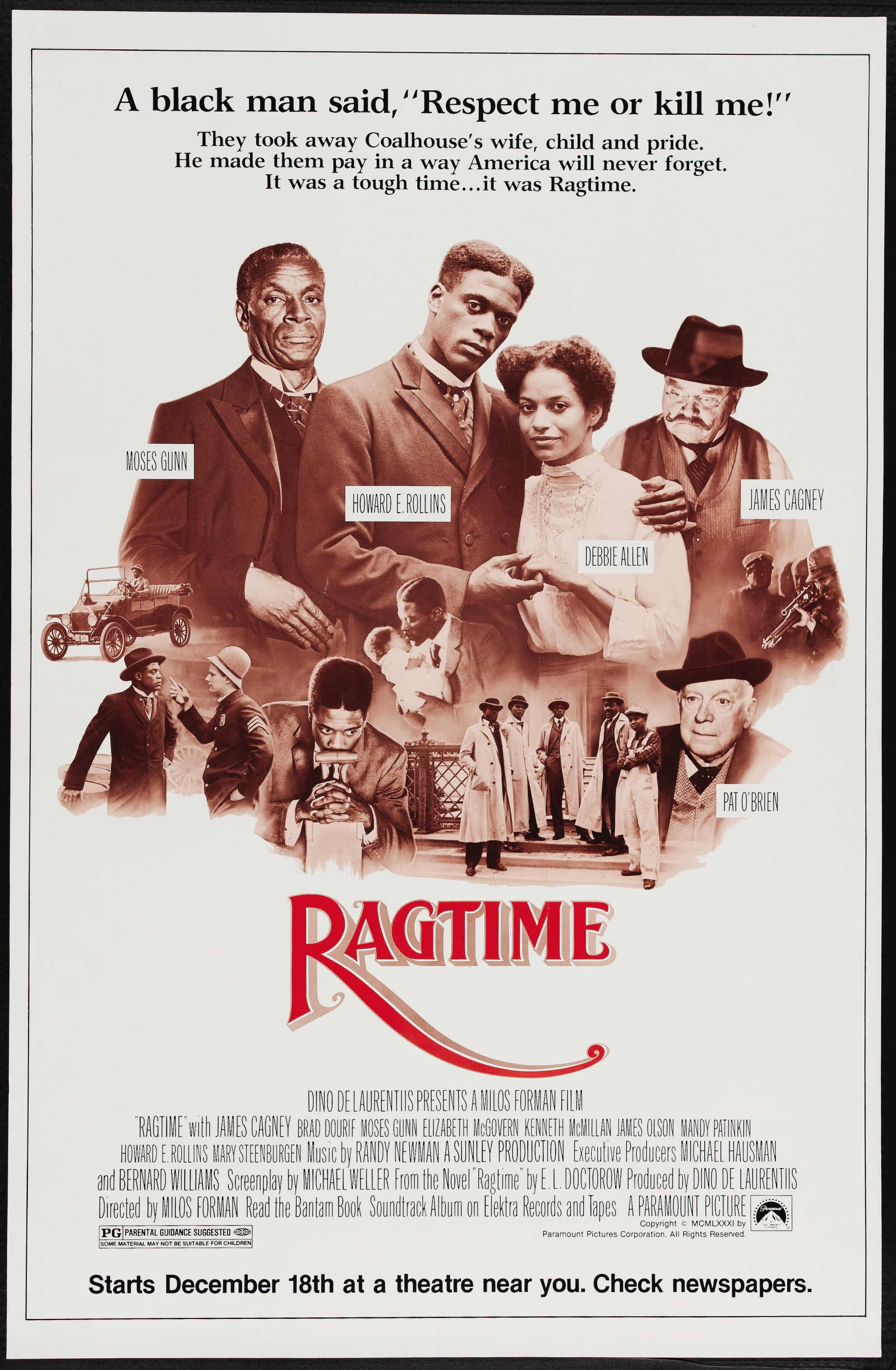 Ragtime 1981 Stars James Cagney Elizabeth Mcgovern Howard E Rollins Jr Brad Dourif Donald O Connor Mary St James Cagney Movie Posters Cinema Posters