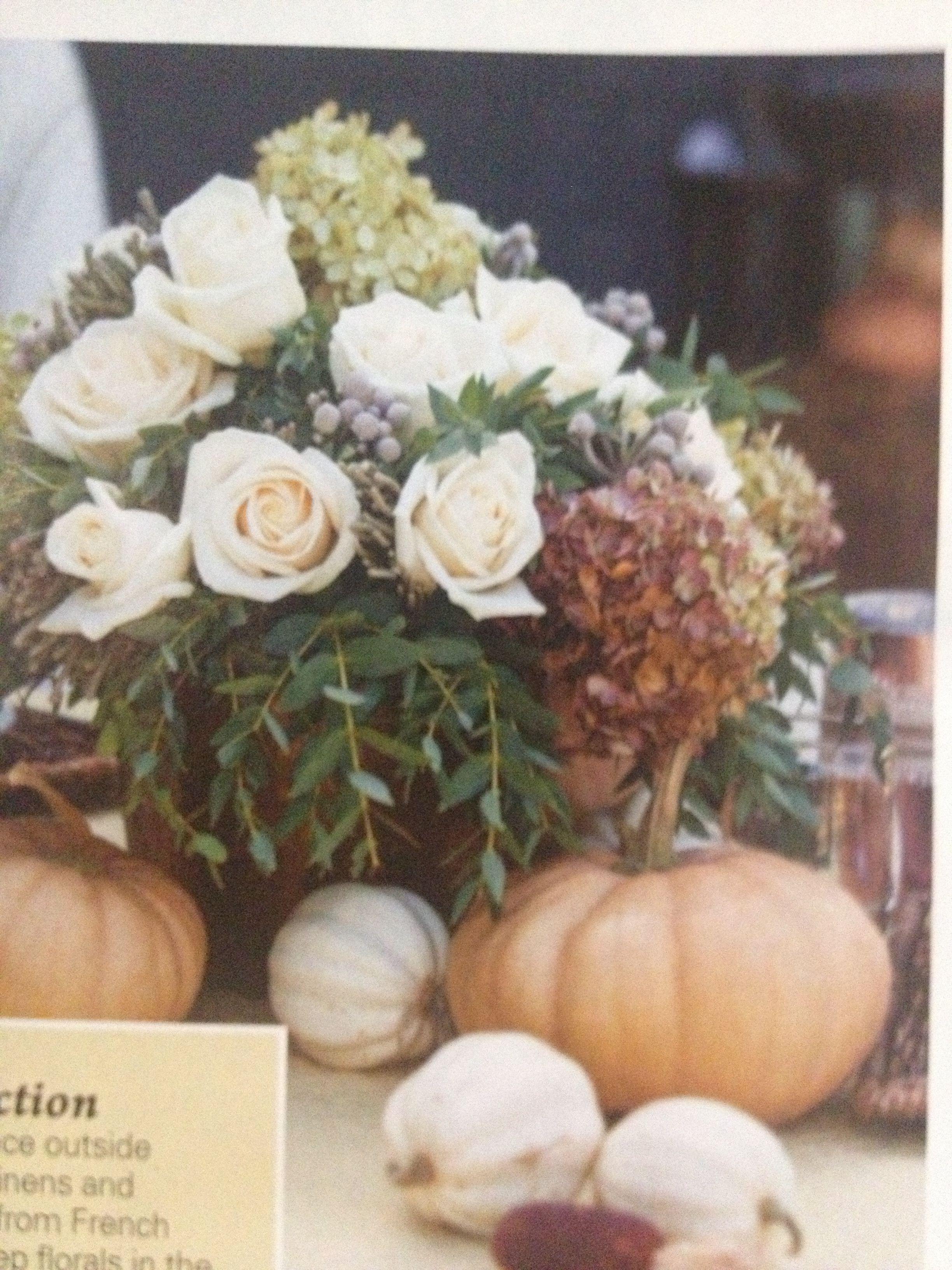 Rustic Fall Flower Arrangement Roses And White Miniature Pumpkins
