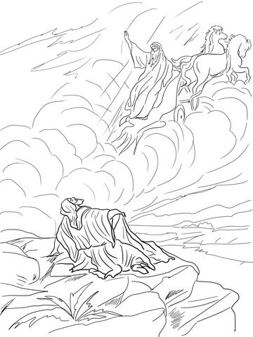 Elijah Taken Up To Heaven In A Chariot Of Fire Coloring Page