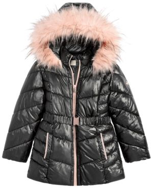 8b718b05d9c Michael Michael Kors Little Girls Hooded Belted Stadium Jacket with ...