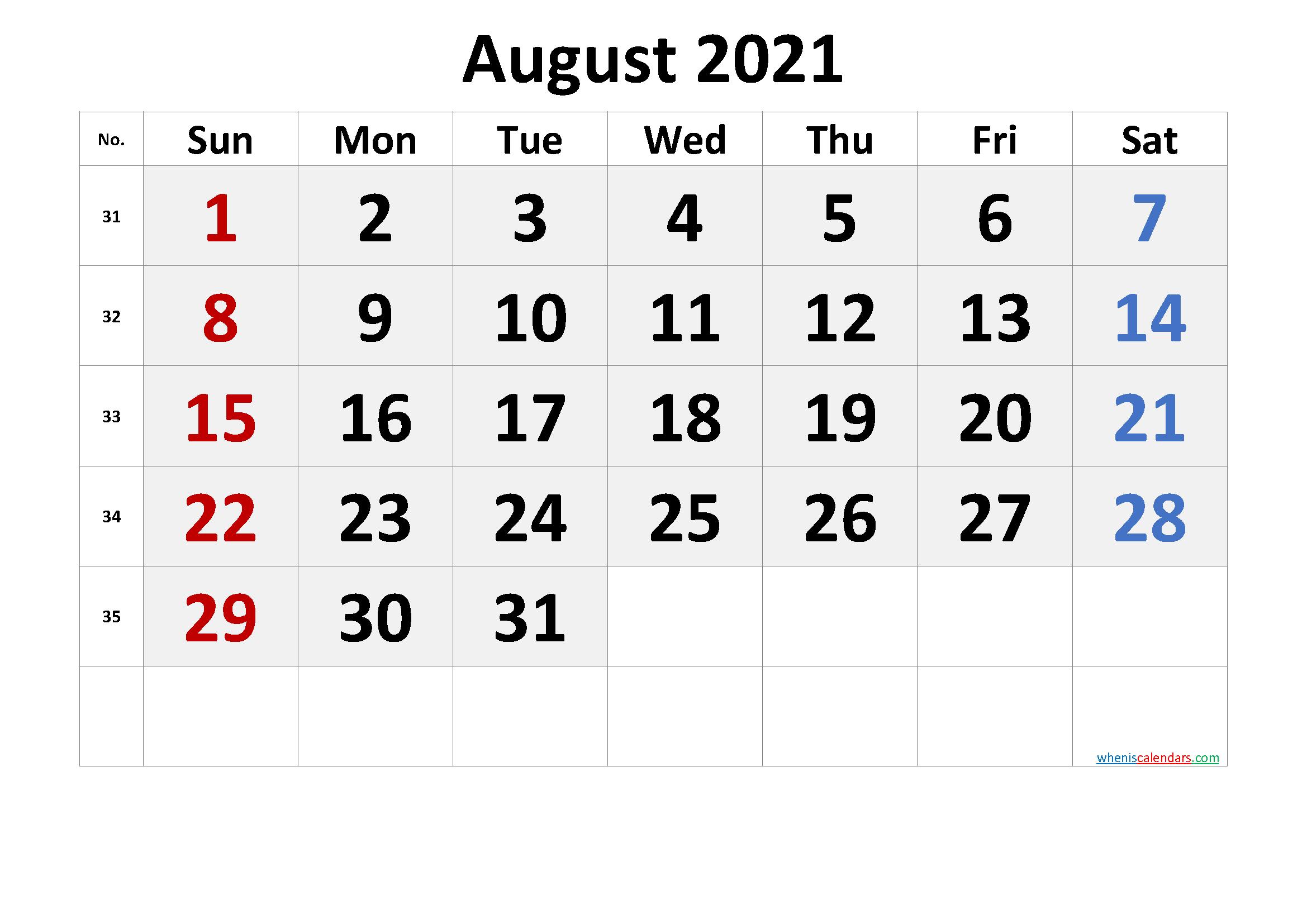 Photos of Printable August 2021 Calendar Word