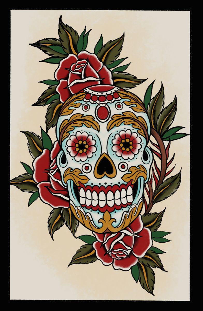 mexican tradition, Calavera, Tattoo, Flash, #mexican #tattooflash #oldschool #rosetatto #skulltattoo #traditional #traditionalart #traditionalart #classictattoo #art #artwork #tattoodesign