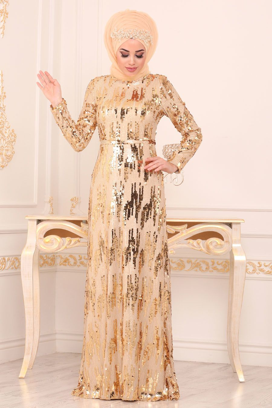 Nayla Collection Pul Payetli Gold Tesettur Abiye Elbise 9110gold Tesetturisland Com Elbise The Dress Mankenler
