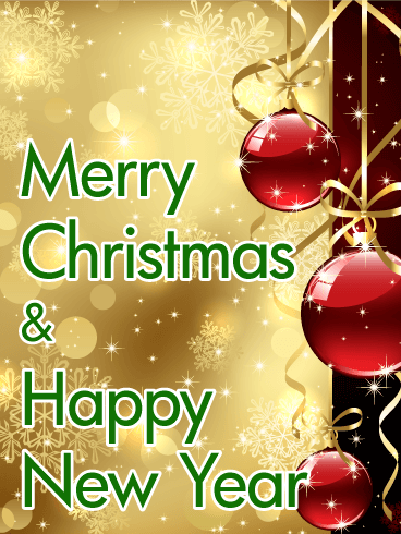 Red Ornaments Merry Christmas Card Birthday Greeting Cards By Davia Merry Christmas Card Christmas Greetings Images Merry Christmas Greetings