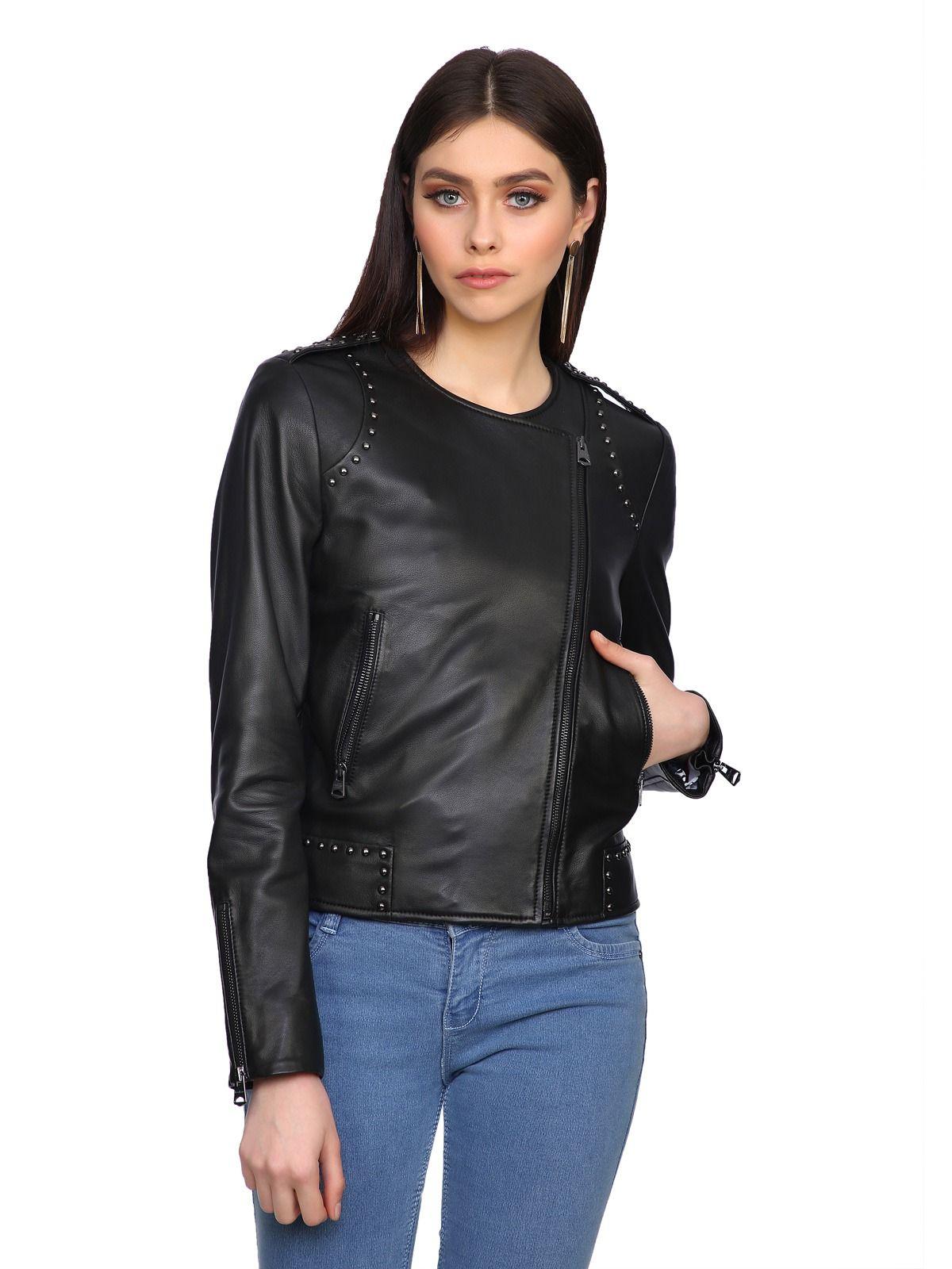 Studded Collarless Leather Biker Jacket Elegant Jacket Jackets Leather [ 1600 x 1200 Pixel ]