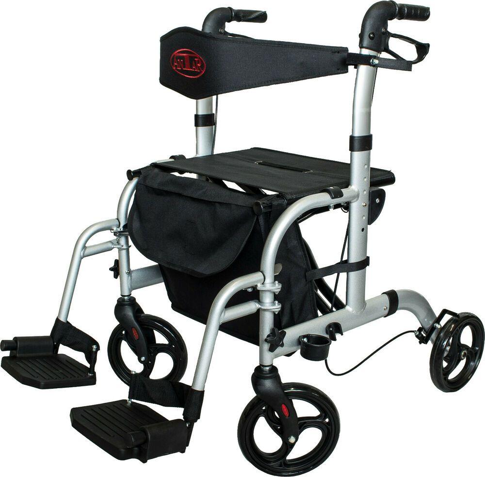 Antar Leichtgewicht Rollator Rollstuhl 2 In1 Gehwagen Aus Aluminium Faltbar Rollstuhl Aluminium Hilfsmittel