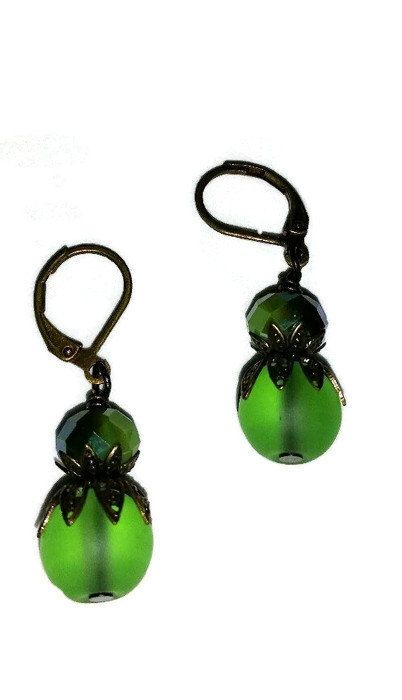 Green GlassBrass caps and French Eurowire by AngelaWilbernJewelry