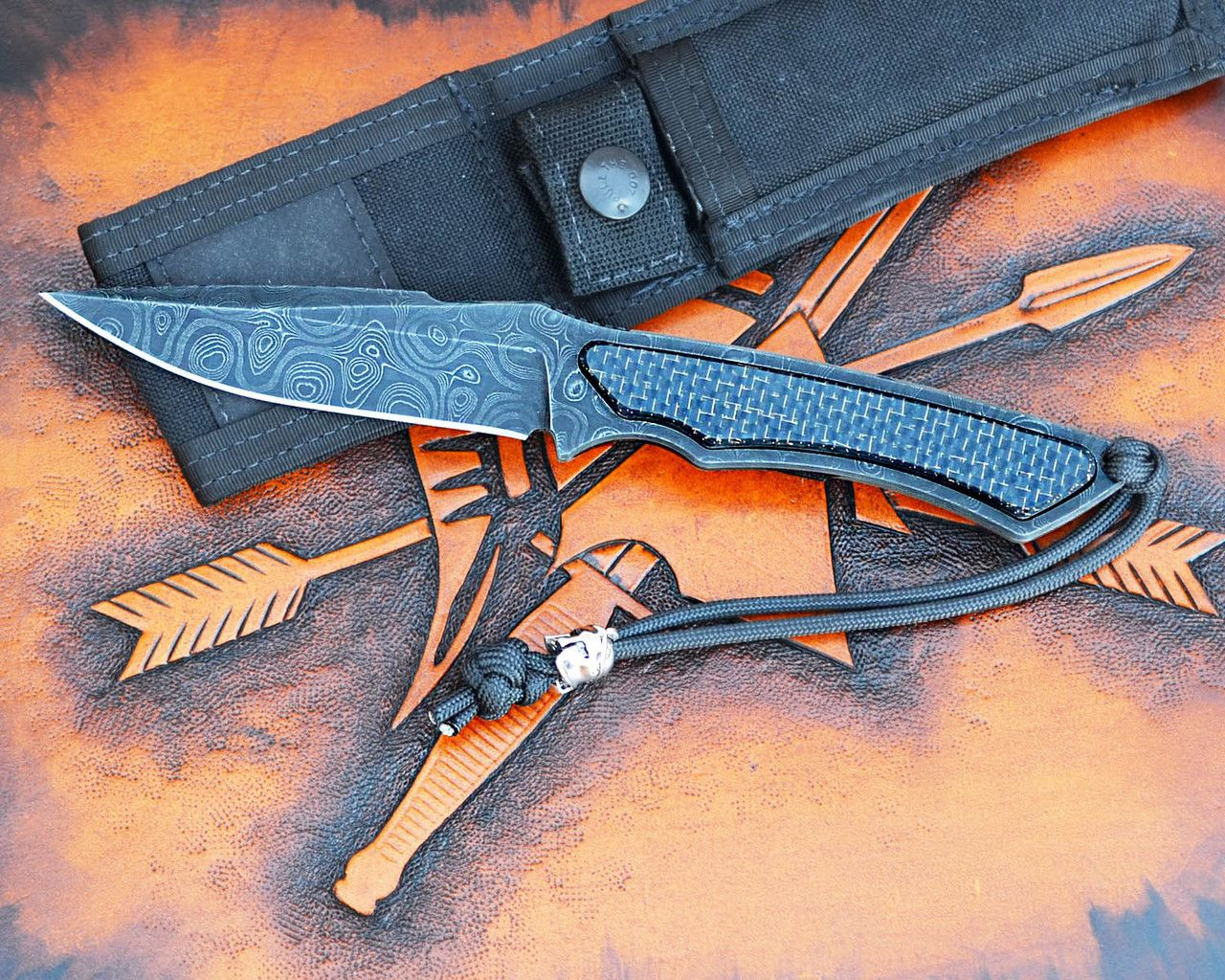 Special Edition - Phrike - Chad Nichols Damascus / Lightening Strike CF - Spartan Blades, LLC