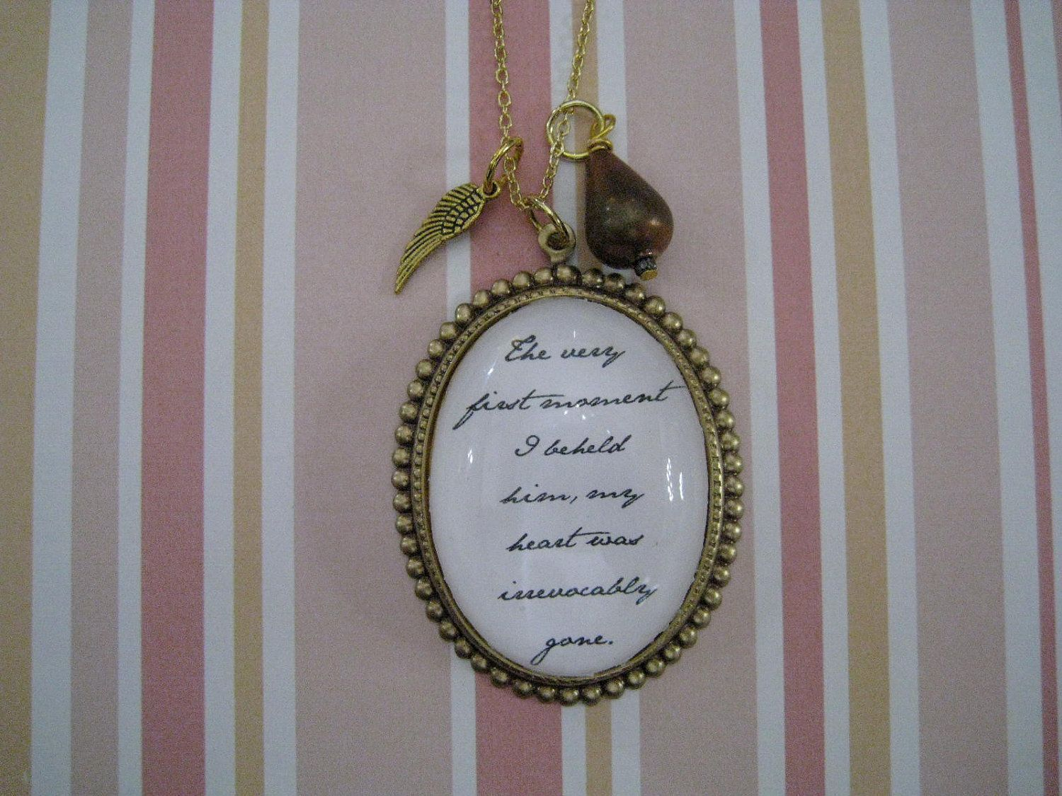 jane austen jewelry | Jane Austen Pride and Prejudice Quote Necklace by justbedesigns