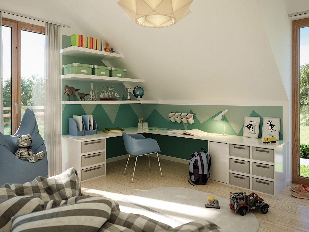 Modernes Kinderzimmer Mit Schreibtisch Unter Dachschräge