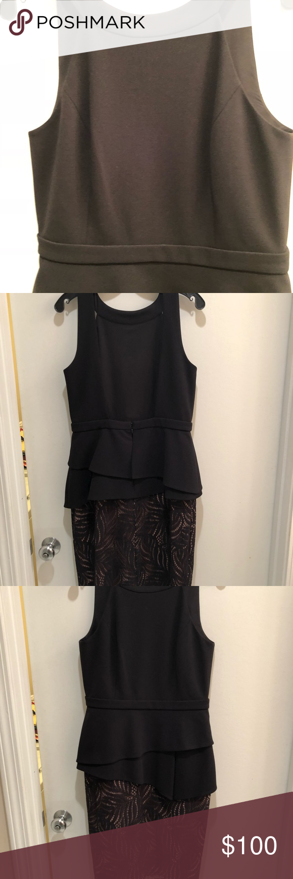 BCBG Maxazria Cocktail Dress Gorgeous. Black crepe and lace cocktail dress low plunging back. Just stunning. Never worn. No tags.  Size 10. Knee length. BCBGMaxAzria Dresses Backless #backlesscocktaildress