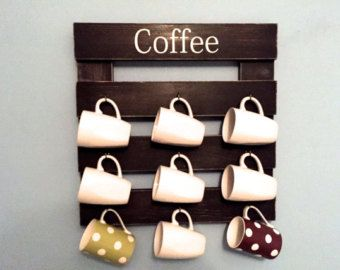 This Rustic Coffee Mug Holder Will Look Great In Your Kitchen! The Coffee  Cup Rack Measures With 9 Hooks For Your Coffee Cups!