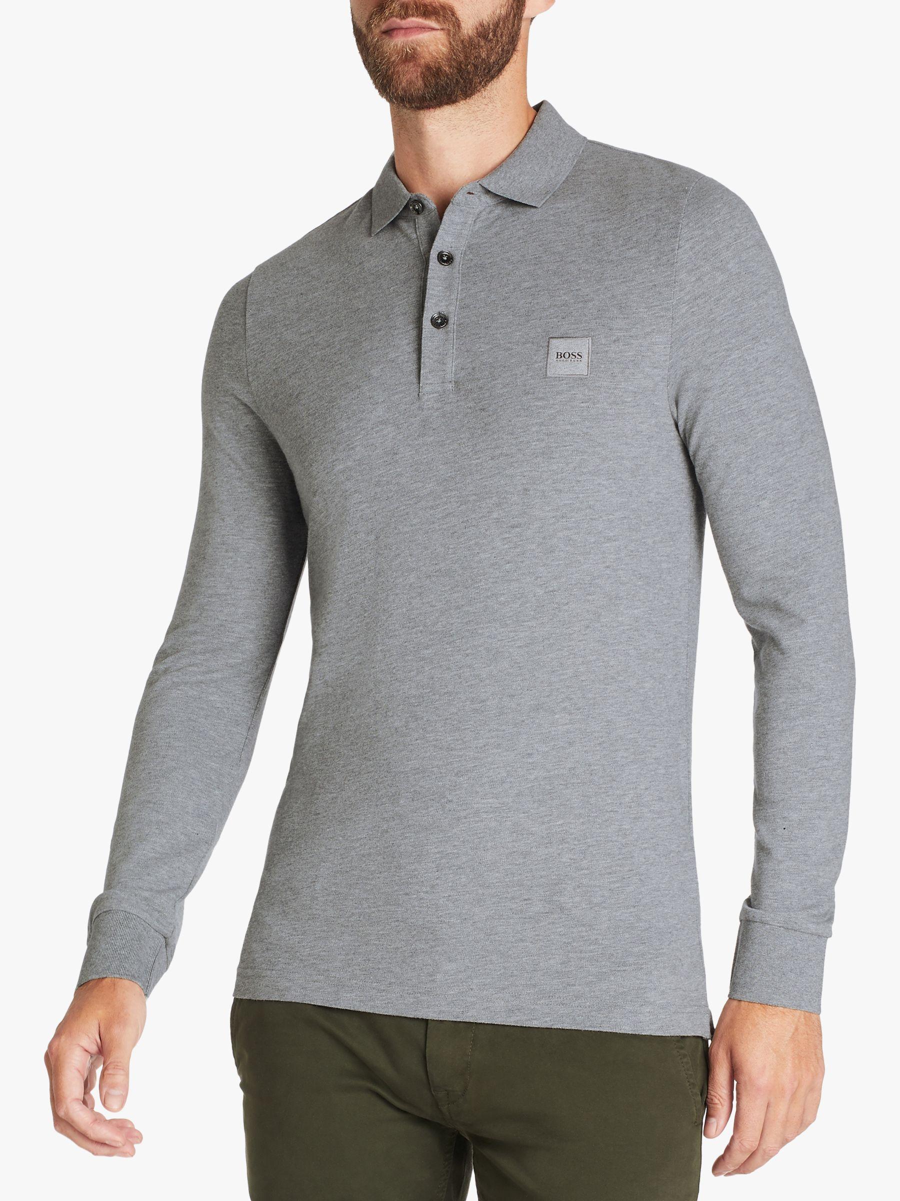 Hugo Boss Passerby Long Sleeve Cotton Black Polo Shirt